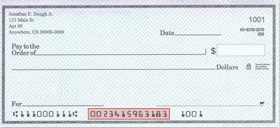 The bank account number can be found in the lower left-hand section, to the right of the bank routing number.